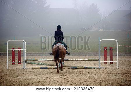 Rider Mounting Horse And Jumping Stade