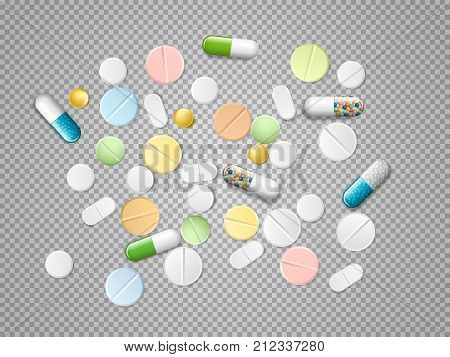 Set of vector realistic pills and capsules isolated on transparent background. Heap of medicines, tablets, capsules, drug of painkillers, antibiotics, vitamins and aspirin. Medical vector illustration.