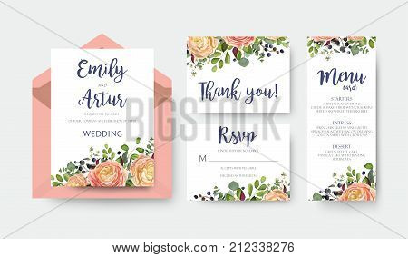 Wedding invite invitation menu thank you rsvp card vector floral design with pink peach garden Rose ranunculus flower eucalyptus forest fern leaves bright pattern. Watercolor rustic style elegant set