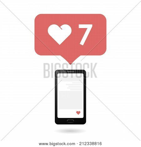 Social icon with smartphone. Flat design style. Isolated on white background.