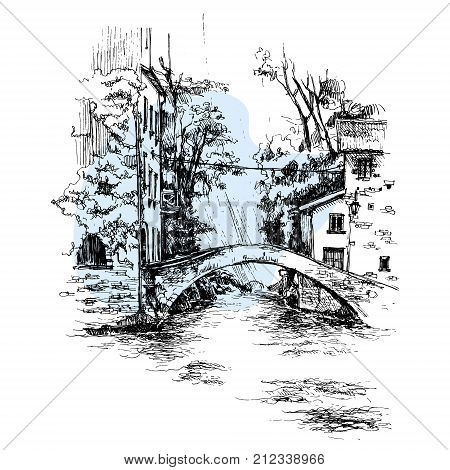 Hand drawn Italy bridge urban sketch style vector illustration isolated on white and blue background. Sketch style drawing of historical Italian bridge, house