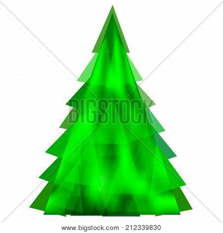 Abstract green Christmas tree from triangle on a white background - vector