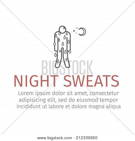 Night Sweats line icon. Vector sign for web graphics.