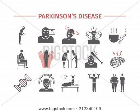 Parkinson's disease. Treatment. Flat icons set. Vector signs for web graphics.