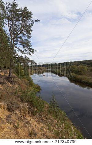 Steep coast rivers Vaga near the village of Smetanino, Vologda region, Russia