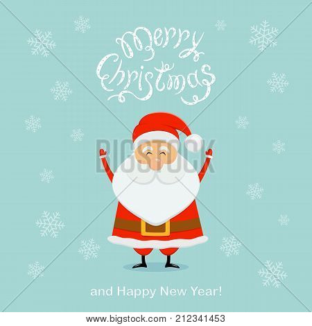 Blue Christmas background with happy Santa Claus and snowflakes. Text Merry Christmas and Happy New Year, illustration.