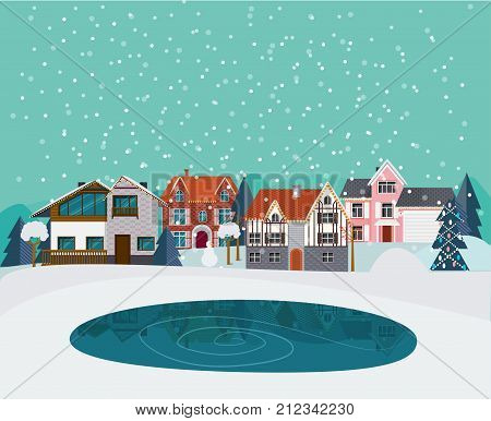 Winter countryside landscape flat template with suburban houses cottages trees pond and snow vector illustration