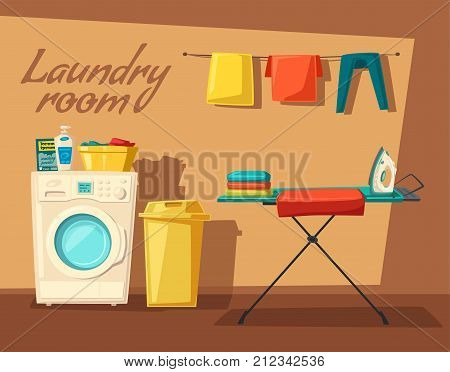 Laundry room with washing machine, ironing board, clothes, facilities for washing and housewife. Cartoon vector illustration. Character design. For web and print. Cleaning theme