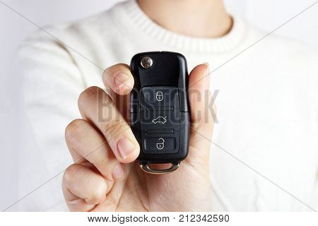 Car Keys. Seller hand giving keys. girl with car keys.