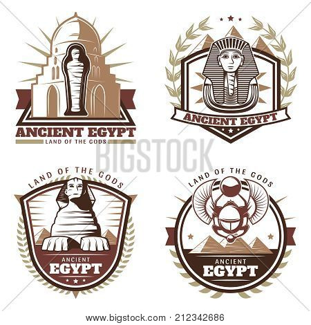 Vintage colored ancient Egypt emblems set with pharaoh mask mummy sphinx pyramids citadel scarab isolated vector illustration