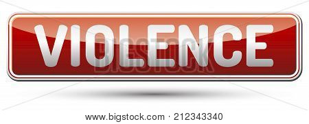 Violence - glossy red banner with shadow