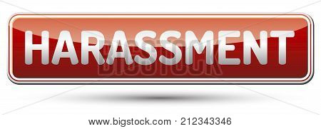 Harassment - glossy red banner with shadow