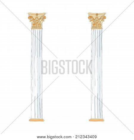 Greek doodle Doric Ionic Corinthian columns. Vector illustration Classical architecture.