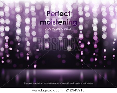 Advertising poster for perfect moisturizing cosmetic product, defocused bright violet background with white luminous elements, sparkling sequins. Vector realistic design for packaging