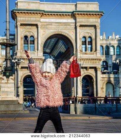 Smiling Girl Near Galleria Vittorio Emanuele Ii Rejoicing