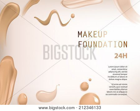 Vector 3D cosmetic background for the promotion of colorstay foundation concealer Realistic poster with texture of smears liquid foundation for advertising premium makeup product to improve complexion.
