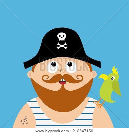 Pirate captain wearing black hat with skull crossed bones frock singlet. Parrot bird. Cute cartoon funny character looking up. Brown moustaches beard. Anchor tatoo. Flat design Blue background Vector