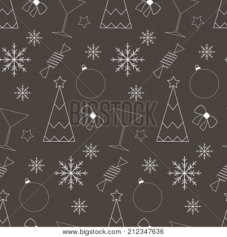 Vector flt illustration with Xmas elements. Xmas bakcground.