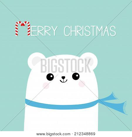 Merry Christmas Candy cane. Polar white bear cub head face wearing scarf. Cute cartoon smiling baby character. Arctic animal collection. Flat design. Winter blue background. Vector illustration