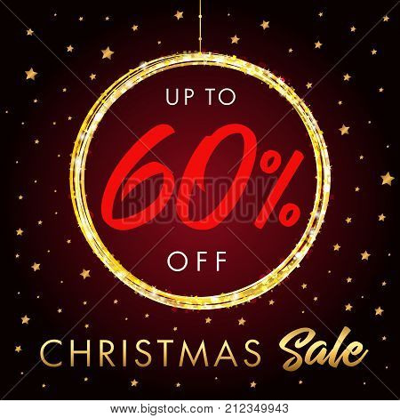Christmas Sale up to 60 % off star banner. Christmas sale design template with text up to -60% off in shine ball and golden stars on red background. Vector illustration