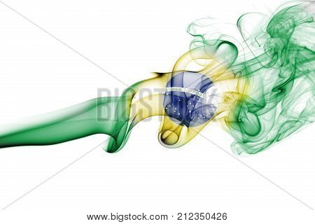 Brazil flag smoke isolated on a white background