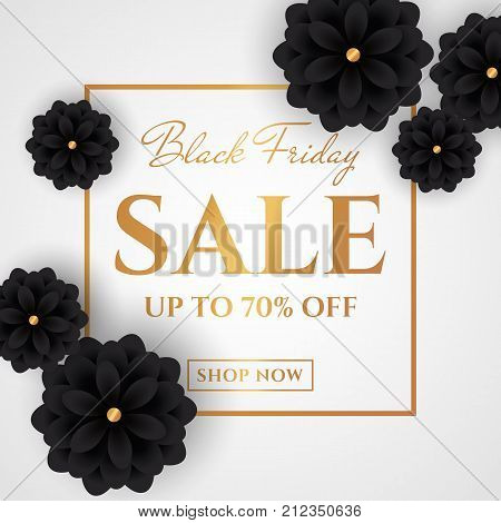 Black friday sale. Discount web banner with black flowers and gold promo text on white background. Elegant vector template.