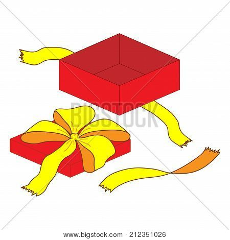 Open gift box with bow sign. Beautiful colorful icon isolated on white background. Surprise symbol. Logo for holiday celebration. Image of elegant present. Mark of decoration for gift. Stock vector