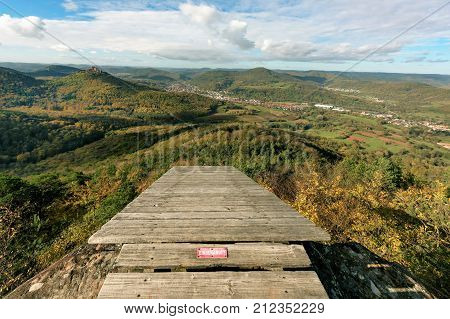 Paragliding launch site on a mountaintop overlooking the Palatinate Forest (Germany)