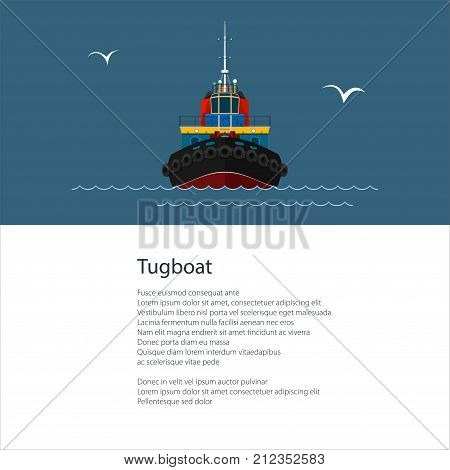 Poster with Industrial Vessel Tugboat , Tow Boat and Text , Brochure Flyer Design, Vector Illustration