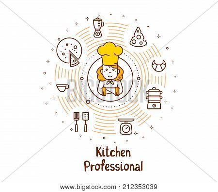 Creative Cooking Concept On White Background. Vector Illustration Of A Woman Chief Cook In A Chef Ha