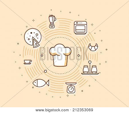 Creative Cooking Concept On Light Background. Vector Illustration Of A Chef Hat With Food Icons.