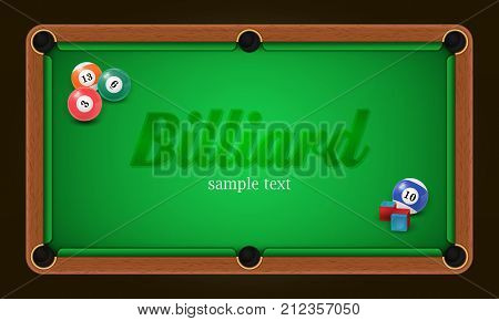 Billiard poster. Pool table background illustration with billiard balls and billiard chalk. EPS 10