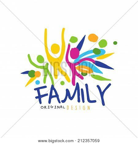 Colorful happy family logo original design with abstract people having fun. Label for greeting card, medicine practice, market. Family entertainment concept. Kids doodle. Flat vector illustration.