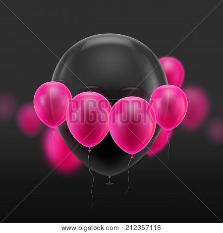 Black ball surrounded small pink. Huge soaring inflatable balloon surrounded by cloud of small pink ones. Vector illustration on black background