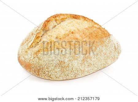Whole loaf of the wheat sourdough hearth bread with bran closeup on a white background