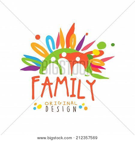 Colorful family logo original design template. Label for card, medicine service, creative hub, charity or family related business. Family care concept with abstract people. Flat vector illustration.