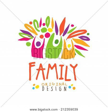 Colorful happy logo design with abstract people. Label for greeting card, medicine practice, creative hub, charity. Family entertainment business concept. Kids doodle style. Flat vector illustration.