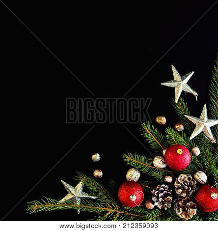 Christmas Background With Balls, Fir Tree Branches