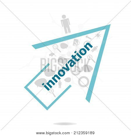 Text Innovation. Business Concept . Data Protection And Secure Elements Inforgaphic Set
