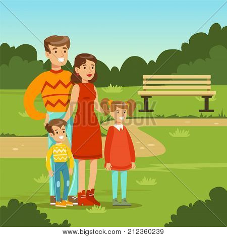 Happy young family spending time in city park. Parents with kids. Father, mother, son and daughter cartoon characters. Loving family. Green nature landscape background. Flat trendy vector illustration
