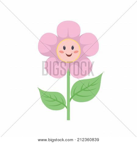 Cartoon style flower with smiling face. Baby girl and child symbol. Vector illustration.