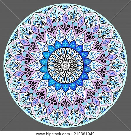 Drawing of a floral mandala in black white violet and blue colors on a gray background. Hand drawn tribal vector stock illustration
