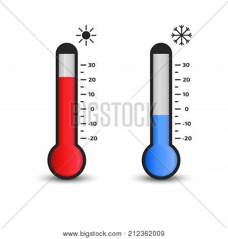 Thermometer icon. Vector. Temperature concept. measuring hot and cold temperature