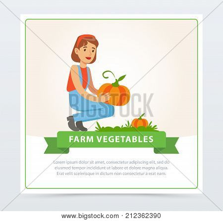 Happy woman farmer character harvesting big pumpkins. Fresh vegetables, farm products. Organic eco food. Farmer and gardener agriculture concept. Flat vector illustration for banner or card design.