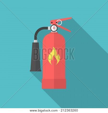 Fire extinguisher icon with long shadow. Flat design style. Extinguisher simple silhouette. Modern minimalist icon in stylish colors. Web site page and mobile app design vector element.