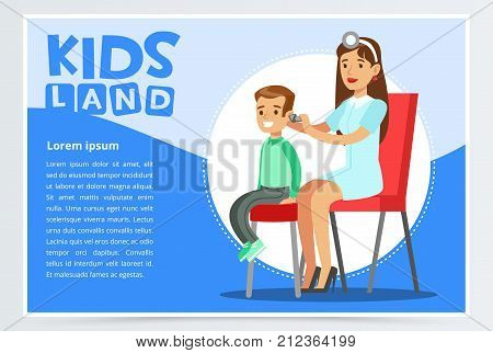 Cute woman pediatrician examining boy s ear with otoscope. Cartoon character of family doctor in medical uniform and patient. Treatment and healthcare concept. Modern vector illustration in flat style