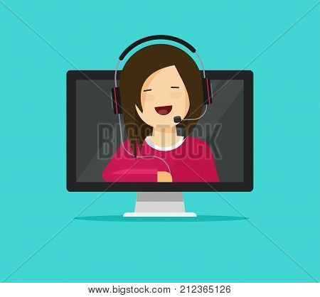 Online support assistant vector illustration, flat cartoon design woman consultant in headset talking from pc computer, idea for call center agent help, internet consulting modern icon