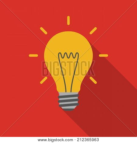 Light bulb icon with long shadow. Flat design style. Light bulb simple silhouette. Modern minimalist icon in stylish colors. Web site page and mobile app design vector element.