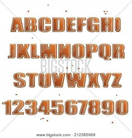 Christmas Cookies Alphabet Letters Christmas. Vector illustration