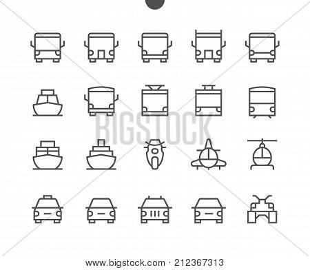 Transport Front View Outlined Pixel Perfect Well-crafted Vector Thin Line Icons 48x48 Ready for 24x24 Grid for Web Graphics and Apps with Editable Stroke. Simple Minimal Pictogram Part 1-1
